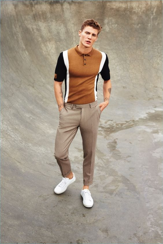 polo shirt and trouser outfit for men