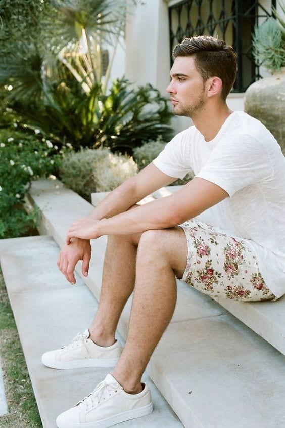 floral printed short with plain white tee