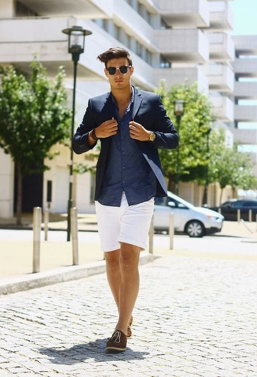 white shorts with blue blazer look