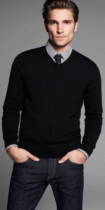 black sweater formal look