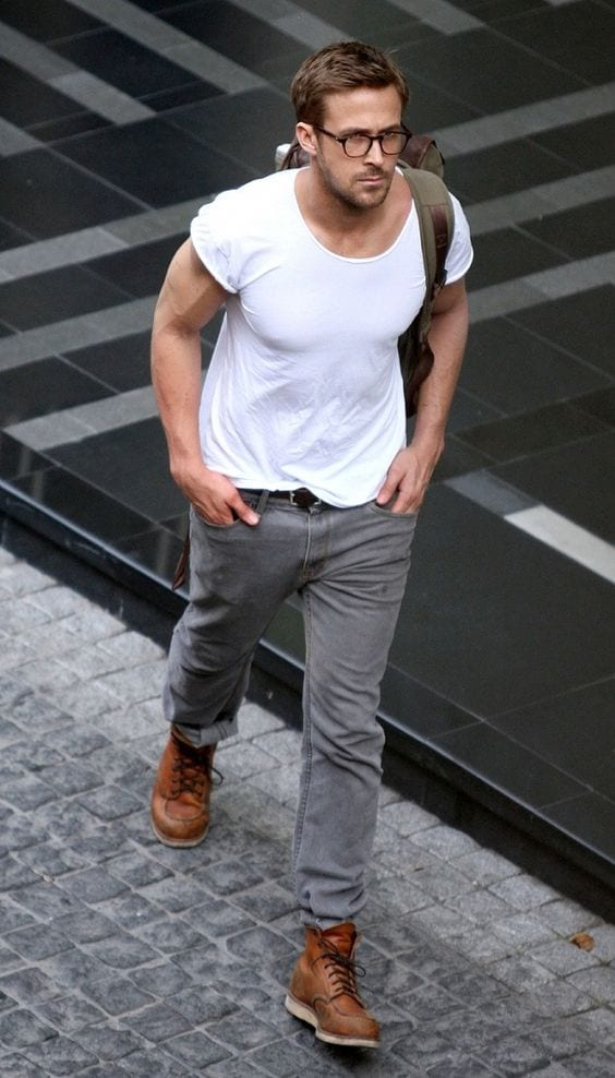 ryan gosling white t shirt outfit