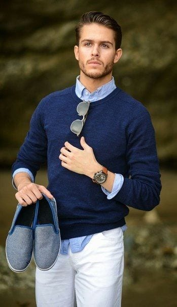 crew neck sweater with untucked in shirt