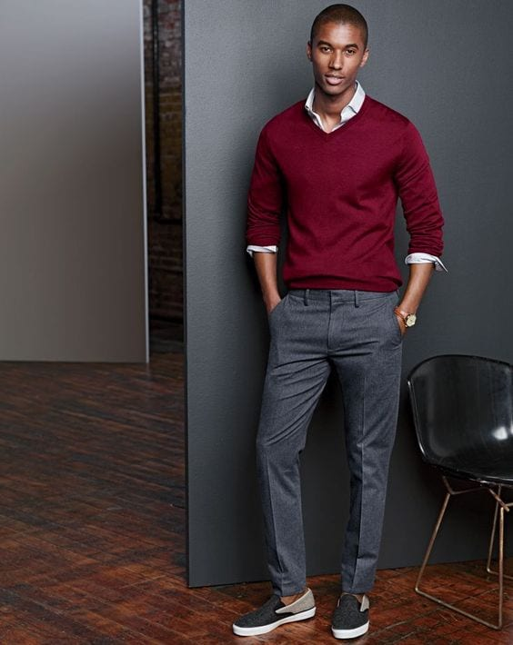 crew sweater with dress shirt black men
