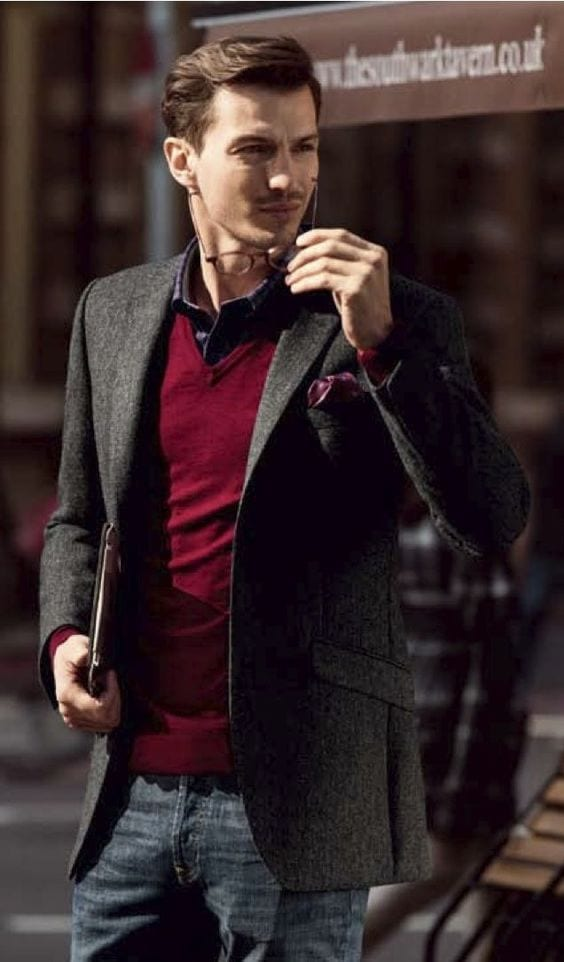 v neck sweater with suit jacket