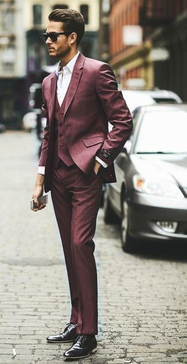 classy burgundy suit