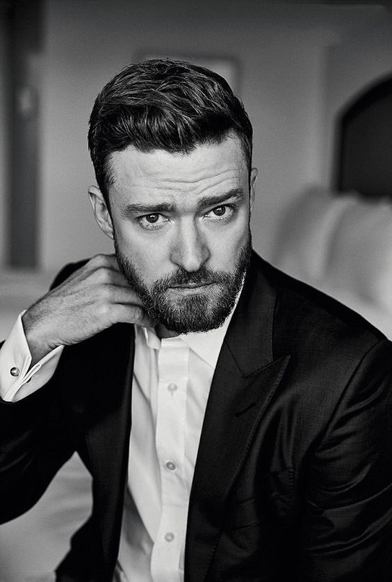justin timberlake heart shape face beard look
