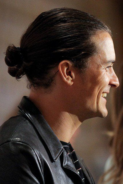Orlando Bloom man bun