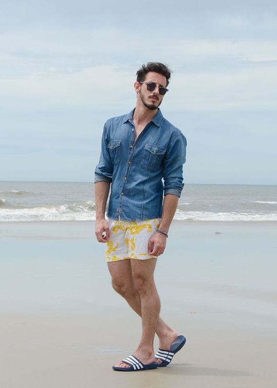 beach summer shorts with flip flops