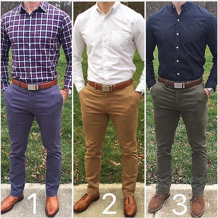 multiple chino colour and outfit options for men