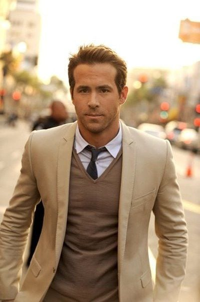 ryan reynolds tan suit look