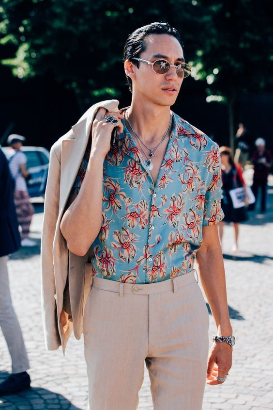 printed shirt with suit