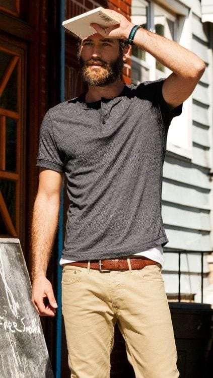 Grey Henley shirt for men