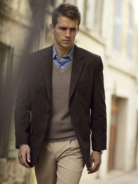 Brown Sweater Vest Look For Men Best Fashion Blog For Men