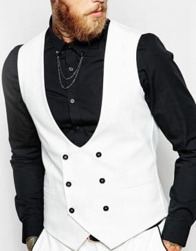 hwite wiast coat with black shirt
