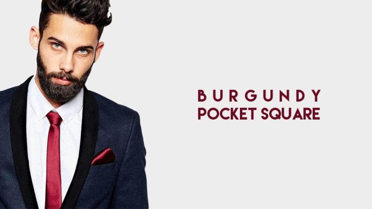 trendy burgundy pocket square