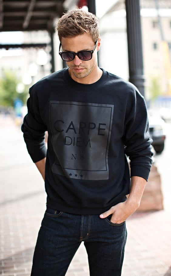 carpe denim black sweatshirt