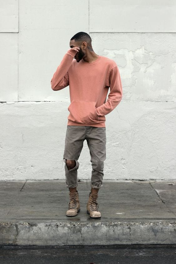 salmon sweatshirt - black man