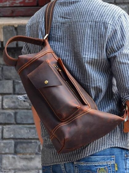brown sling bags for men