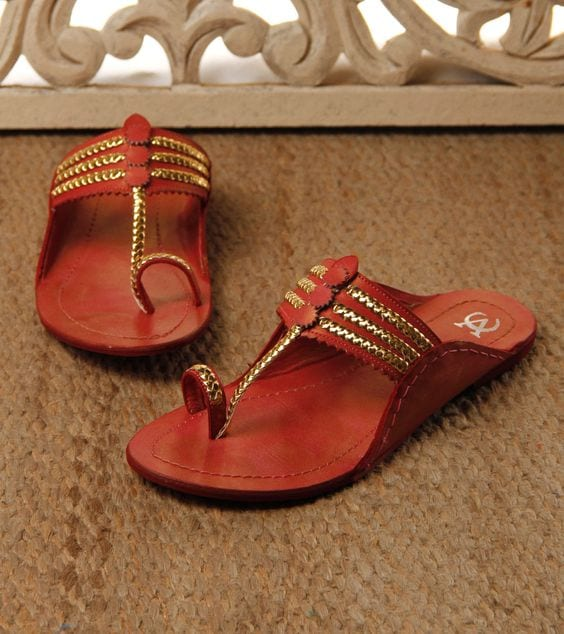 colourful kolhapuri footwear