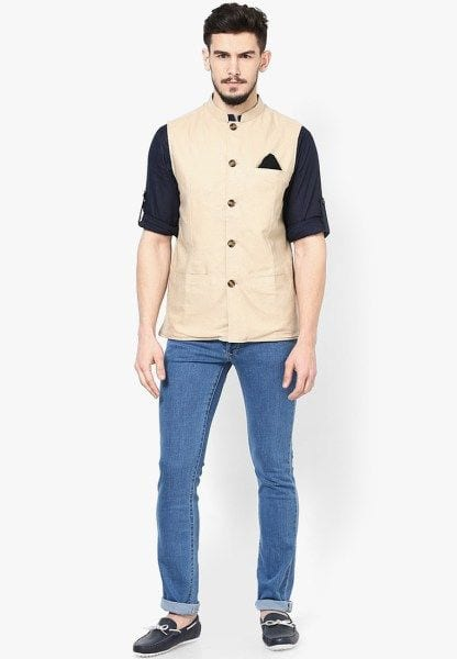 demins styled with nehru jacket