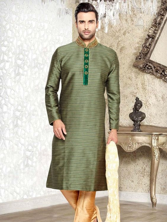 green sherwani for mehndi