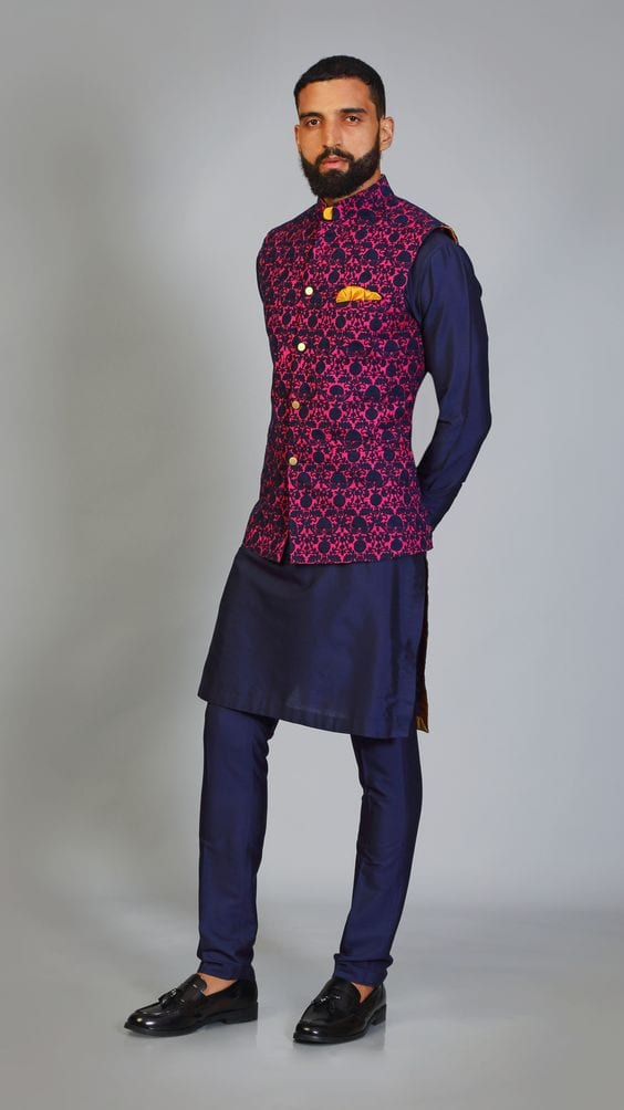 navy blue kurta with maroon nehru jacket