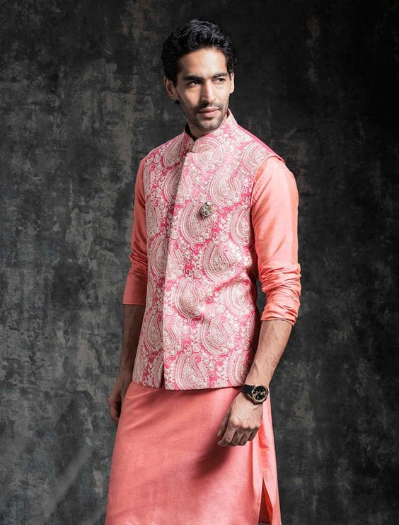 peach with pink print nehru jacket