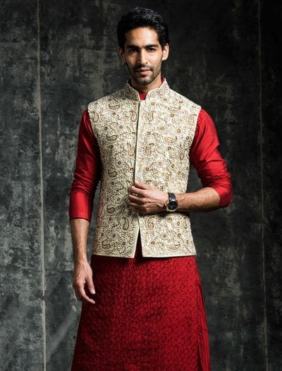red kurta with nehru jacket