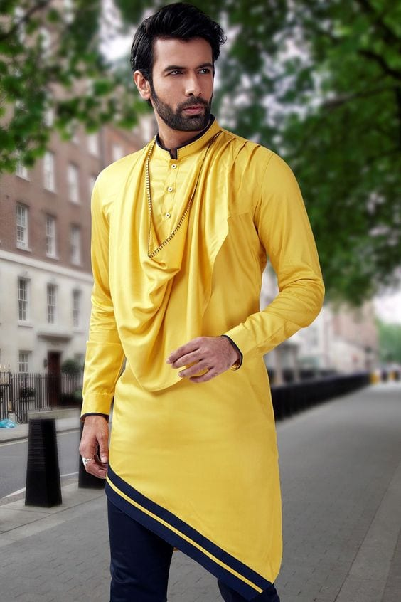 yellow kurta - indo western for men