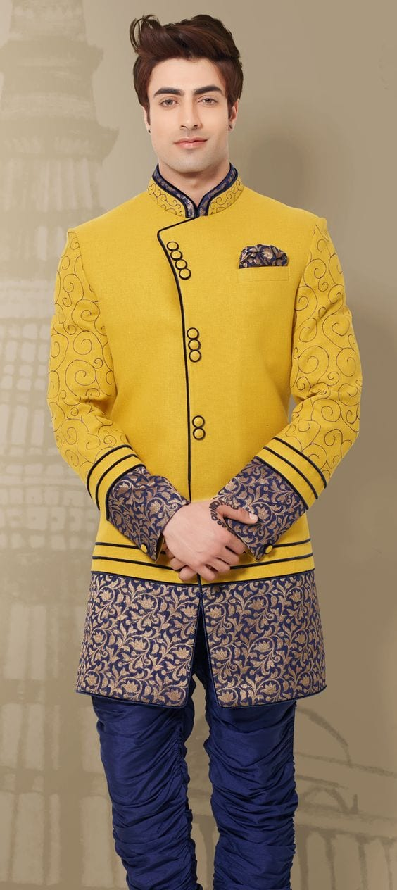 yelow and blue sherwani