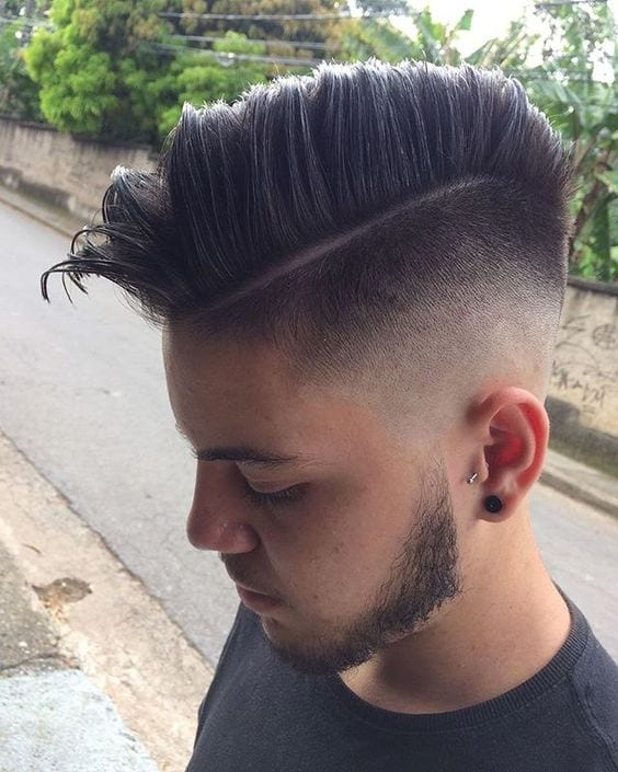 Faded side part pompadour