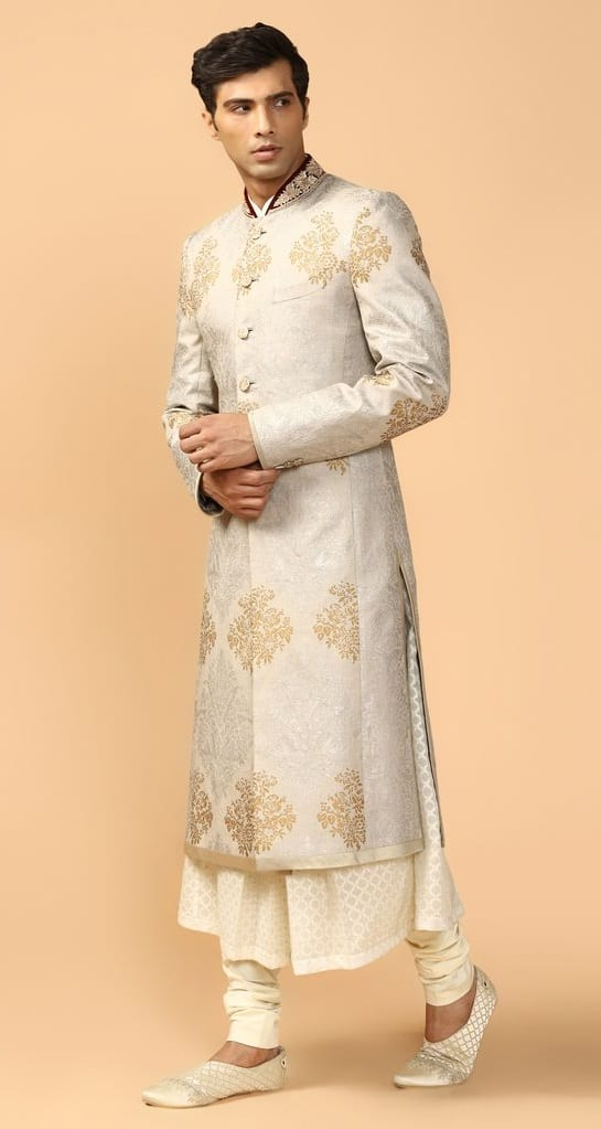 Printed Sherwani With Kurta & Churidar