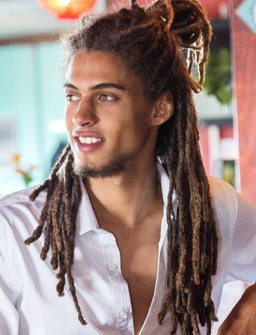 best half up man bun dreadlocks