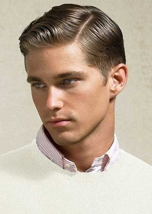 classic side part pompadour