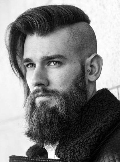 undercut mohawk with long hair and beard