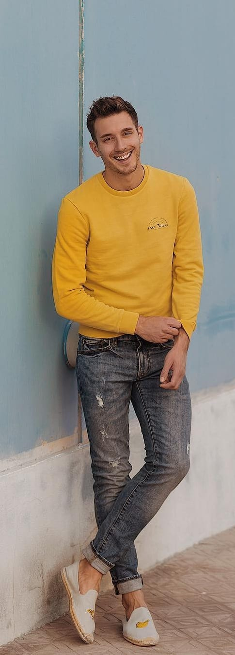 yellow tshirt and denim