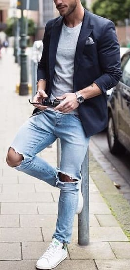Blue Ripped Denim with suit jacket