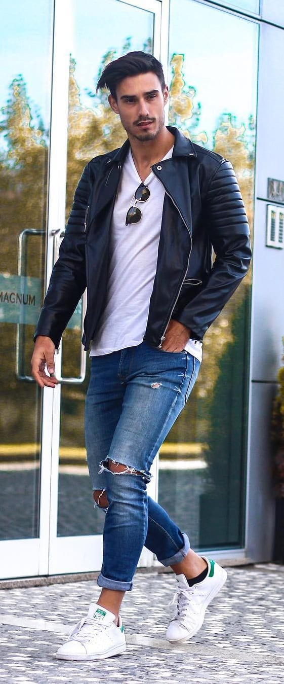 Solid Colour T-shirt + Ripped Jeans + Jacket + Sneakers-Minimalist Wardrobe