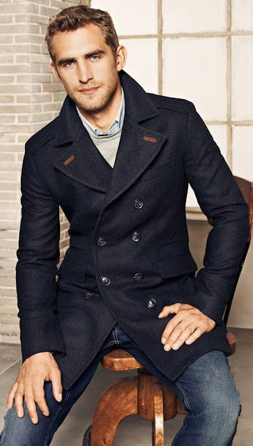 Tailored Pea Coat with denim