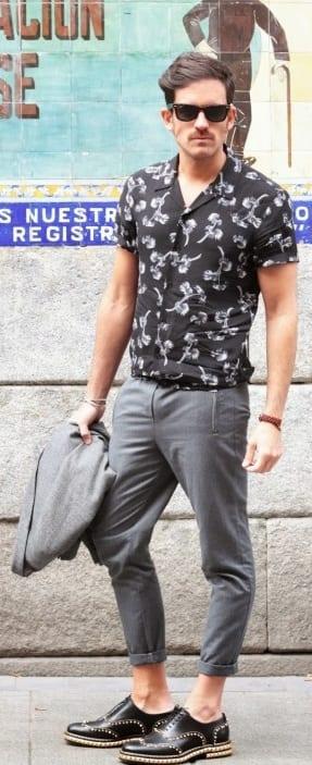 black printed shirt with grey chino