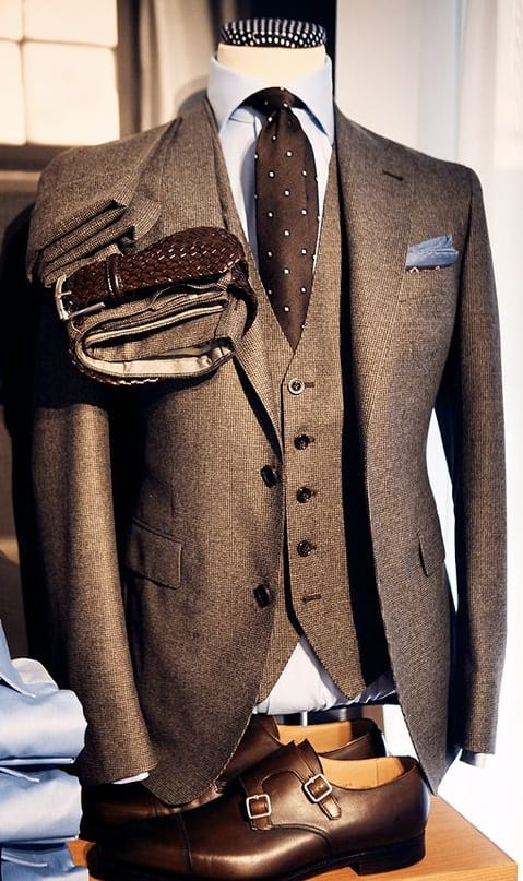 brown suit and accessories