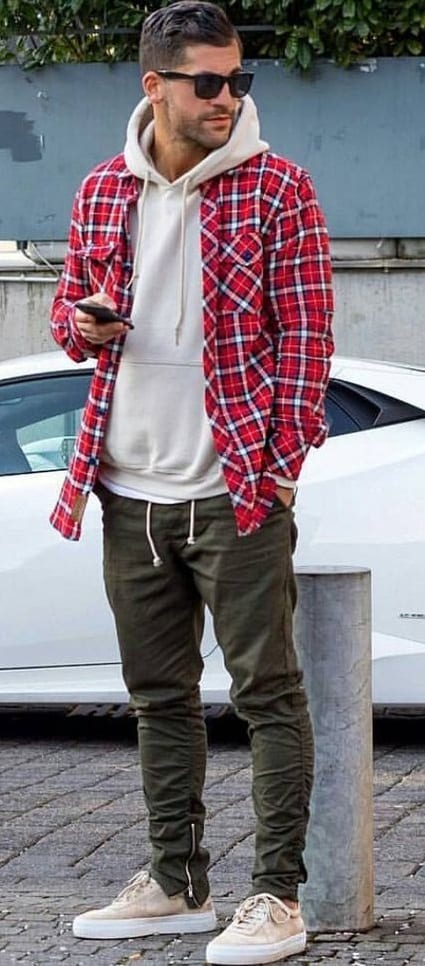 flannel shirt over hoodie, sneakers