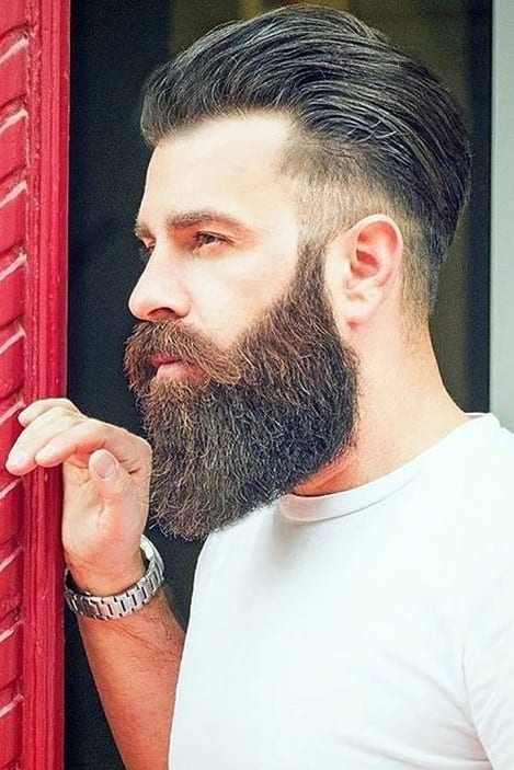 low fade mohawk with beard