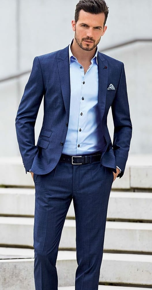 navy blue suit, blue shirt