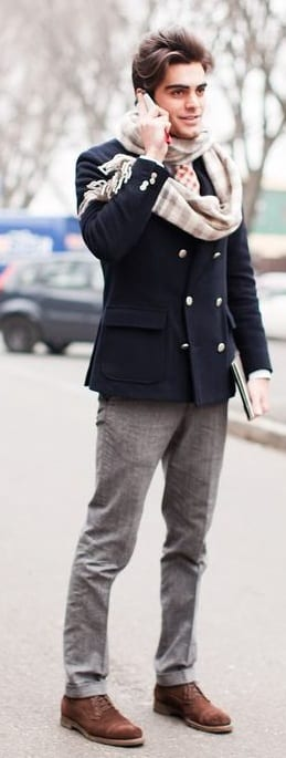 navy blue pea coat and scarf