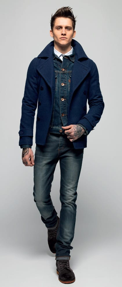 navy blue pea coat with denim