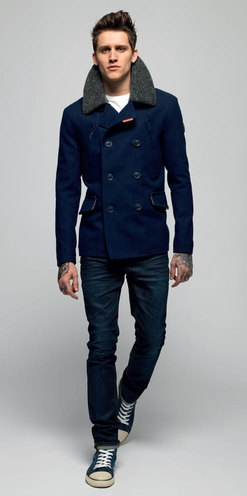 pea coat with trainers