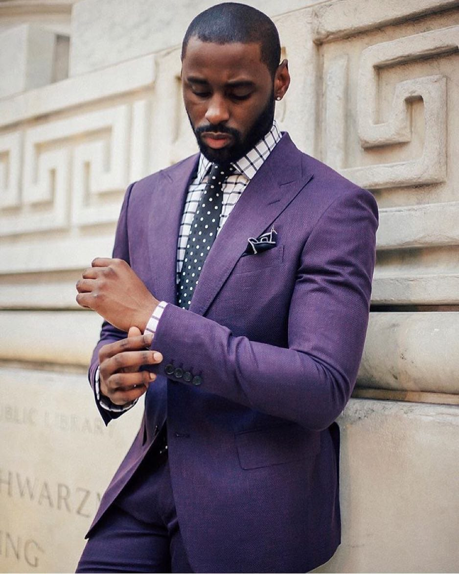 purple outfit-dark skin tone men style guide