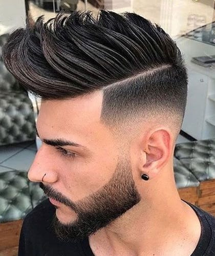 side part with pompadour