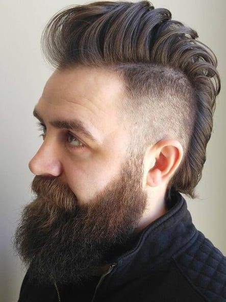 skin fade mohawk long beard